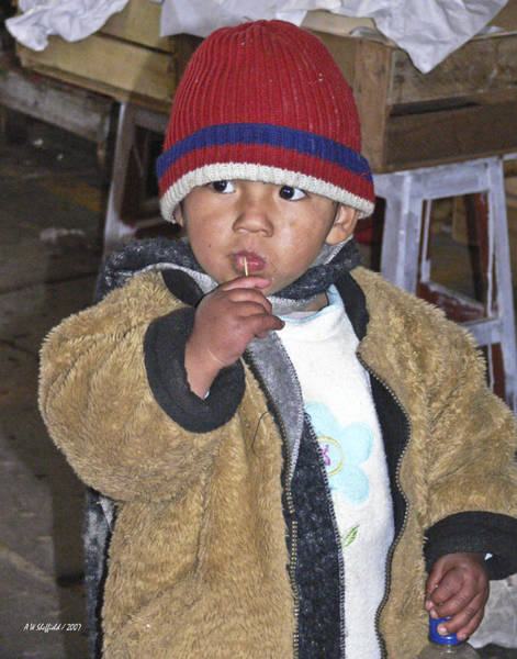 Photograph - Boy Eating Quail Egg - Cusco Peru by Allen Sheffield