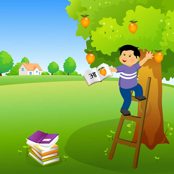 Ladders Photograph - Boy Holding A Book And Climbing A Mango Tree by Fanatic Studio / Science Photo Library