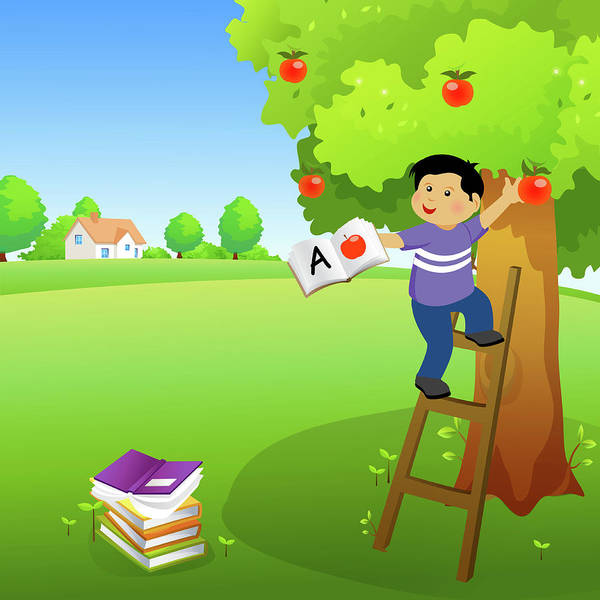Ladders Photograph - Boy Holding A Book And Climbing An Apple Tree by Fanatic Studio / Science Photo Library