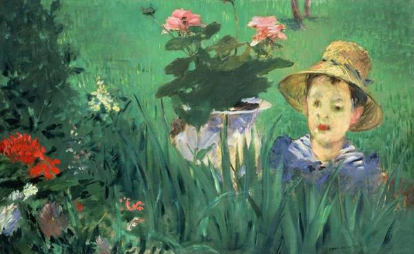 Wall Art - Painting - Boy In Flowers by Edouard Manet