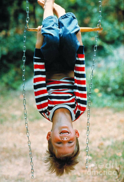 Trapeze Photograph - Boy On A Swing by Suzanne Szasz