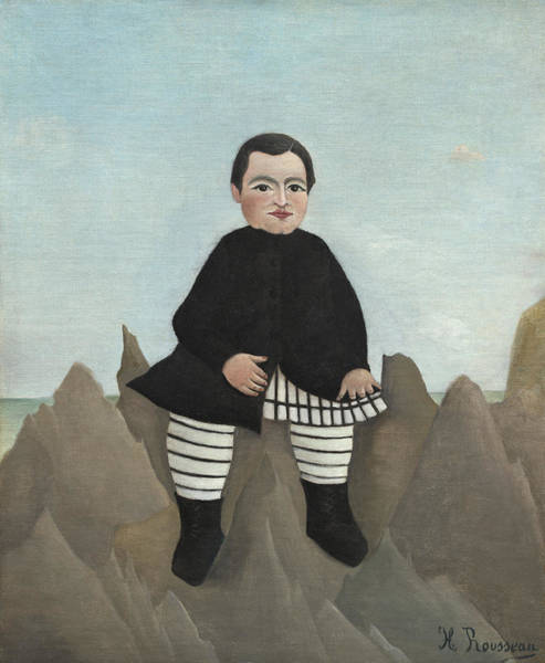 Naive Wall Art - Painting - Boy On The Rocks by Henri J F Rousseau