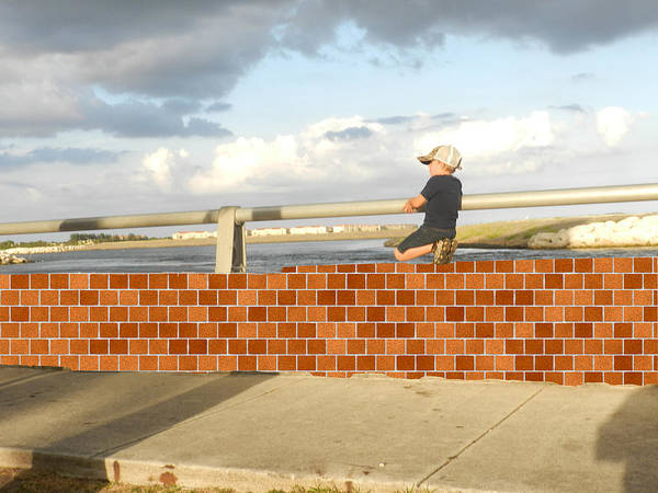 Photograph - Boy On The Wall by Grace Dillon