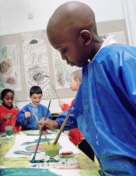 Classroom Photograph - Boy Painting At School by Martin Riedl/science Photo Library