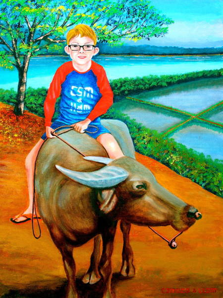 Painting - Boy Riding A Carabao by Lorna Maza