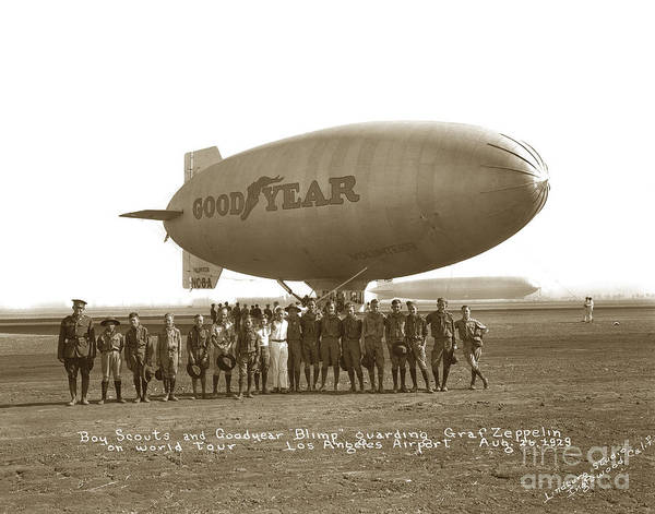Photograph - Boy Scouts And Good Year Blimp Guarding Graf Zeppelin Los Angeles Airport Aug. 26 1929 by California Views Archives Mr Pat Hathaway Archives