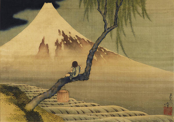 Sepia Painting - Boy Viewing Mount Fuji by Katsushika Hokusai