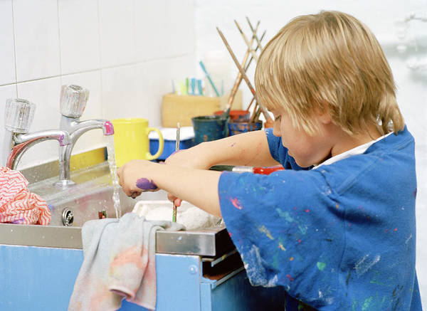 Classroom Photograph - Boy Washing His Hands by Martin Riedl/science Photo Library