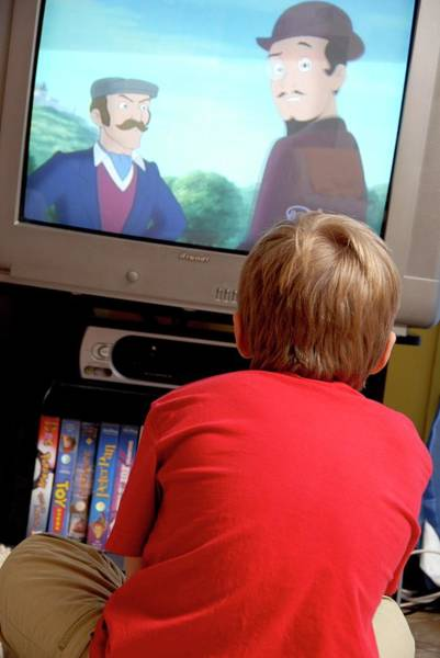 Inactive Photograph - Boy Watching Television by Aj Photo/science Photo Library
