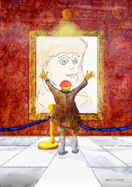 Boy With A Portrait Of His Mother Art Print