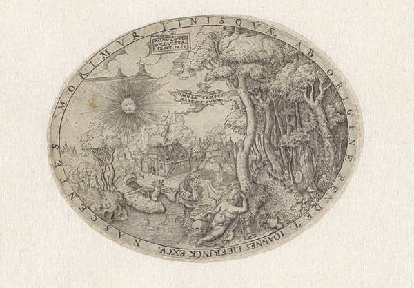 Wall Art - Drawing - Boy With A Skull And Hourglass In A Landscape by Paulus Van Wtewael And Hans Liefrinck (ii)