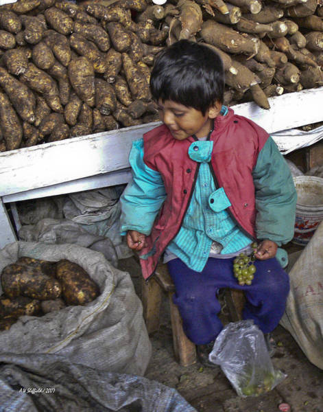 Photograph - Boy With Grapes - Cusco Market by Allen Sheffield