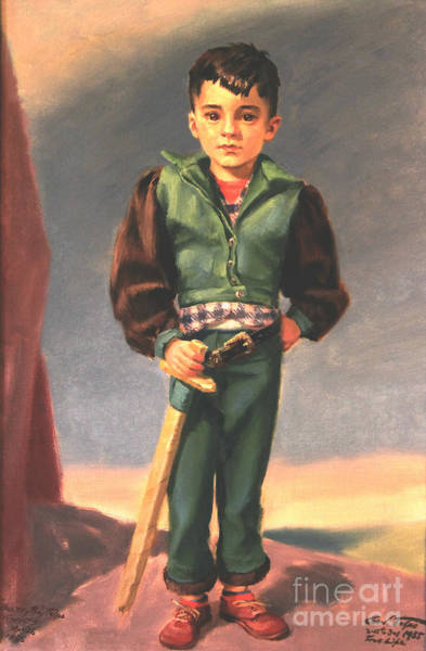 Painting - Boy With Paper Sword by Art By Tolpo Collection