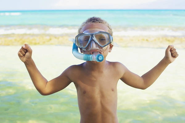 Wall Art - Photograph - Boy With Snorkel by Kicka Witte