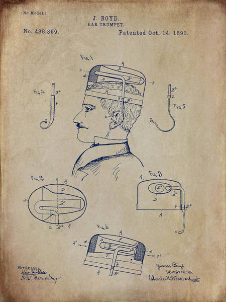 Digital Art - Boyd Ear Trumpet Patent 1890 - Aged by Paulette B Wright