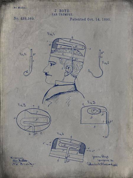 Digital Art - Boyd Ear Trumpet Patent 1890 - Gray by Paulette B Wright