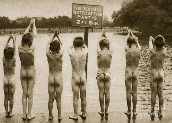 Wall Art - Photograph - Boys Bathing In The Park Clapham by English Photographer