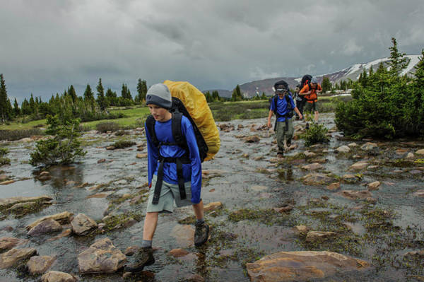 Uinta Photograph - Boys Cross Streams During A Backpack by Beth Wald