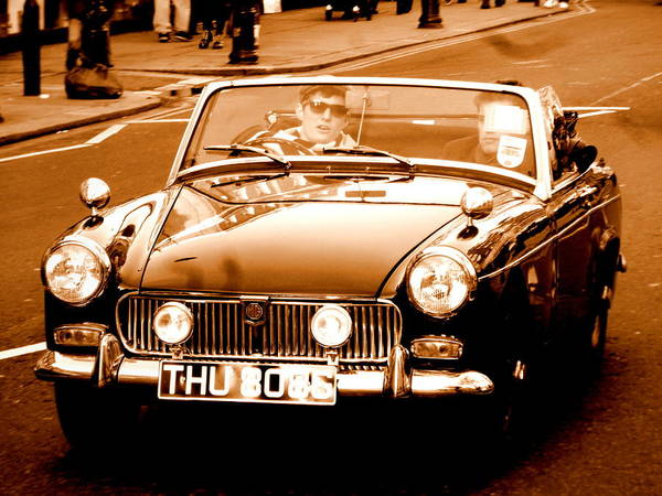 Wall Art - Photograph - Boys Crusing London In Vintage Car by Funkpix Photo Hunter