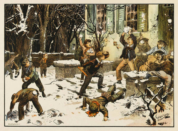 Wall Art - Drawing - Boys Enjoy A Snowball Fight by Mary Evans Picture Library