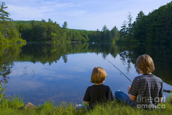 Brother Photograph - Boys Fishing by Diane Diederich