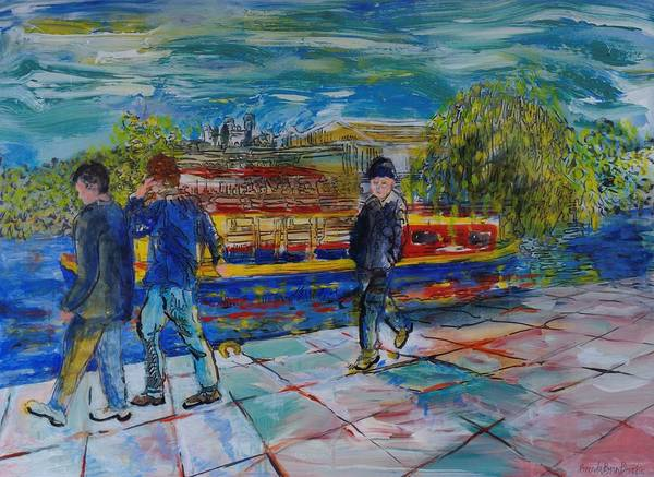 Leisurely Photograph - Boys On The Towpath Acrylic On Paper by Brenda Brin Booker