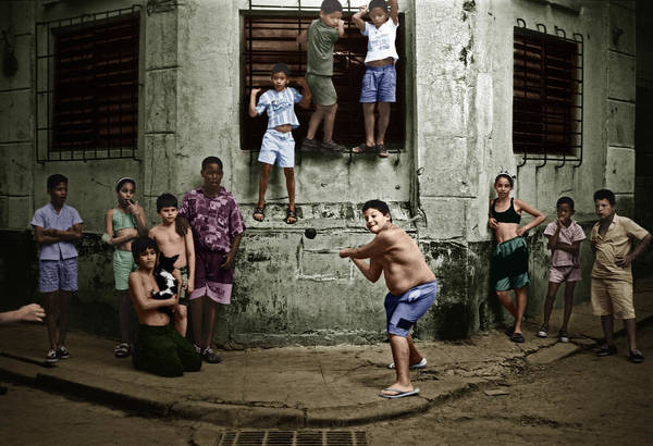 Photograph - Boys Playing Stickball by Celestial Images