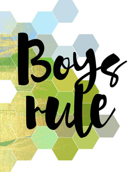 Nursery Painting - Boys Rule by Amy Cummings