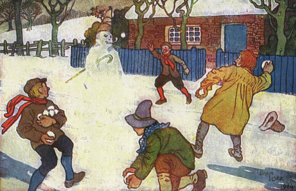Wall Art - Drawing - Boys Snowballing A Snowman by Mary Evans Picture Library