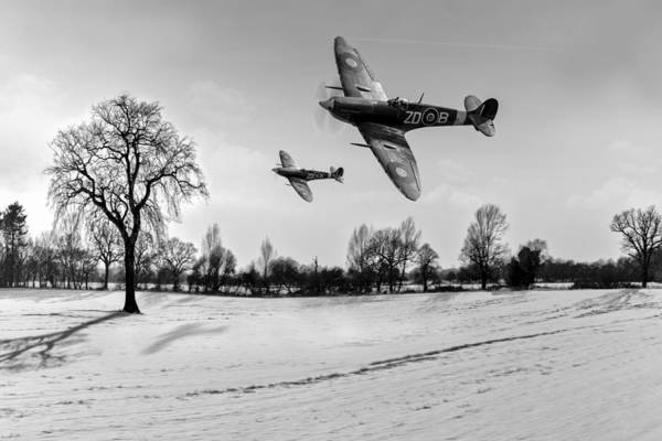 Photograph - Low-flying Spitfires Black And White Version by Gary Eason