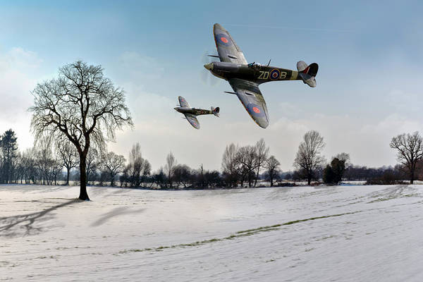 Photograph - Low-flying Spitfires In Winter by Gary Eason