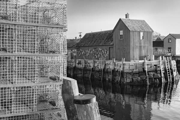 Photograph - Bradley Wharf Motif #1 Bw by Susan Candelario