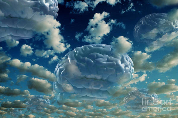 Photograph - Brain Floating Among Clouds by Mike Agliolo