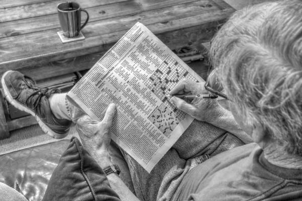 Photograph - Mind Games - Sunday Crossword Puzzle - Black And White by Jason Politte