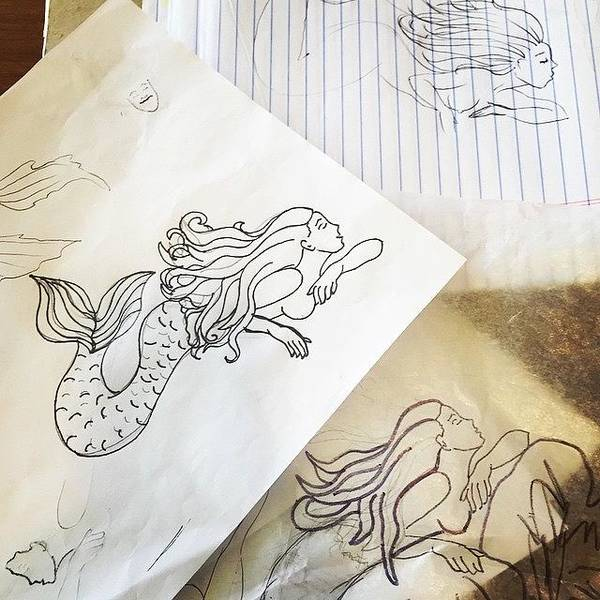 Pencil Wall Art - Photograph - Mermaid Sketches by Marybeth Galvin