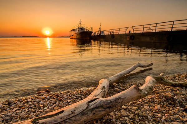 Danube Photograph - Branch Barge And Sunset by Davorin Mance