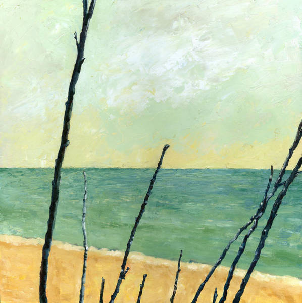 Beach Collage Painting - Branches On The Beach - Oil by Michelle Calkins