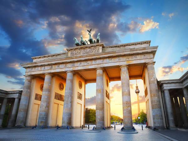 Brandenburg Gate And The Tv Tower In Berlin Art Print by Narvikk