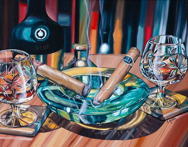 Cigar Painting - Brandy And Cigars by Anthony Mezza