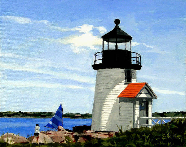 Wall Art - Painting - Brant Point Lighthouse Nantucket Massachusetts by Christine Hopkins