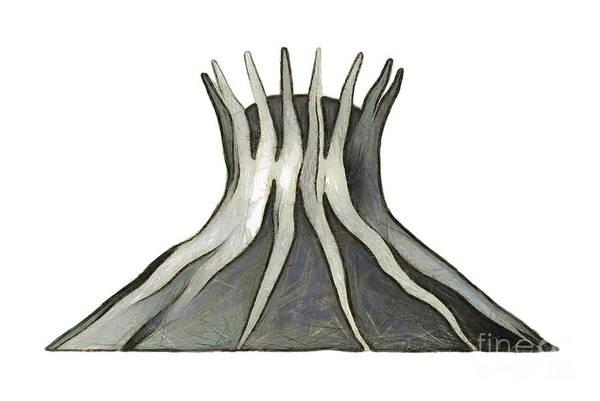 Mixed Media - Brasilia Landmark - Cathedral by Michal Boubin