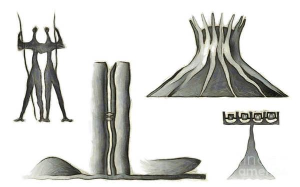 Wall Art - Mixed Media - Brasilia Landmarks by Michal Boubin