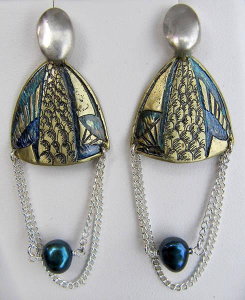 Freshwater Pearls Wall Art - Jewelry - Brass Earrings Teal Chain by Brenda Berdnik