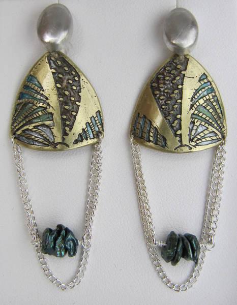 Freshwater Pearls Wall Art - Jewelry - Brass Etching Green Teal Earrings by Brenda Berdnik