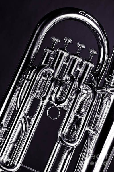 Photograph - Brass Music Instrument Tuba Valves In Sepia 3277.01 by M K Miller