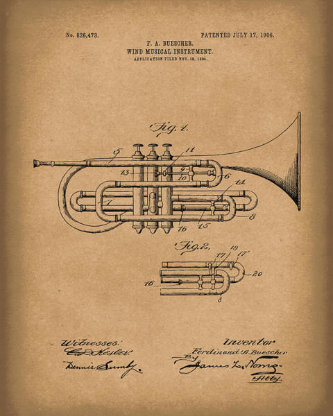 Drawing - Brass Musical Instrument 1906 Patent Art Brown by Prior Art Design