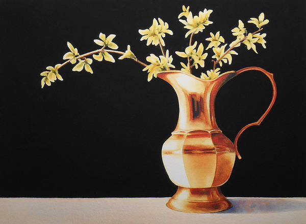 Forsythia Painting - Brass Pitcher With Forsythia by Jean Yates