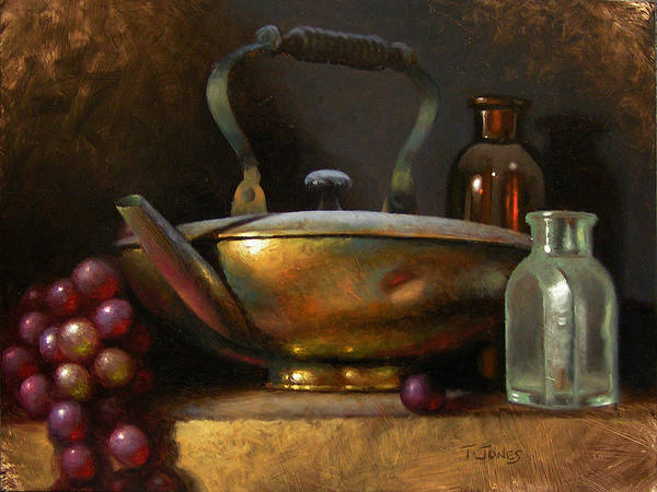 Wall Art - Painting - Brass Teapot And Antique Glass by Timothy Jones