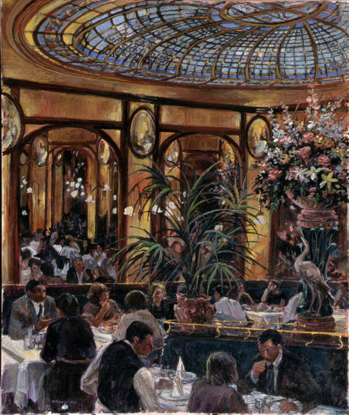 Parisian Photograph - Brasserie Bofinger In The Rue De La Bastille, Paris, 1999 Oil On Canvas by Rosemary Lowndes