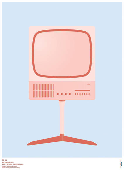 1960s Digital Art - Braun Fs 80 Television Set - Dieter Rams by Peter Cassidy